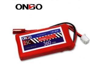 25C 2S 360mAh lipo,360mah small lipo,ONBO 2S 25C lipo,3.7V lipo battery