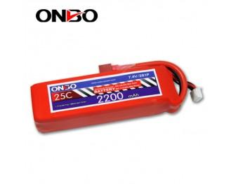 25C 2S 2200mAh lipo,2200mah lipo, ONBO 2S 25C lipo,3.7V lipo battery