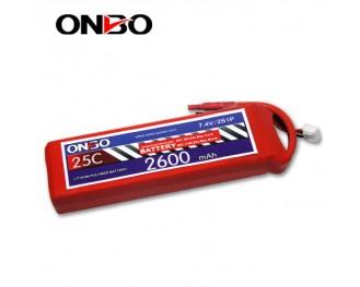 25C 2S 2600mAh lipo,2600mah lipo, ONBO 2S 25C lipo,3.7V lipo battery