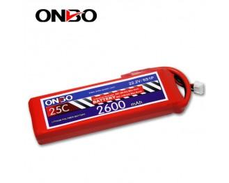25C 6S 2600mAh lipo,2600mah lipo, ONBO 6S 25C lipo,3.7V lipo battery