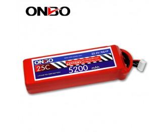 25C 6S 5200mAh lipo,5200mah lipo, ONBO 6S 25C lipo,3.7V lipo battery