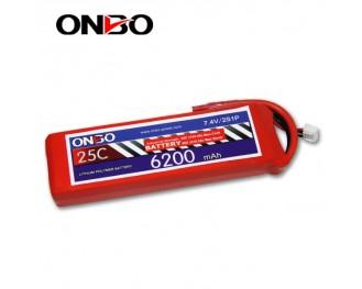 25C 2S 6200mAh lipo,6200mah lipo, ONBO 2S 25C lipo,3.7V lipo battery