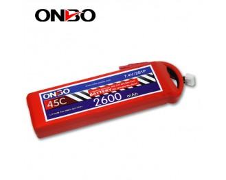 45C 2S 2600mAh lipo,2600mah lipo,ONBO 2S 45C lipo,3.7V lipo battery
