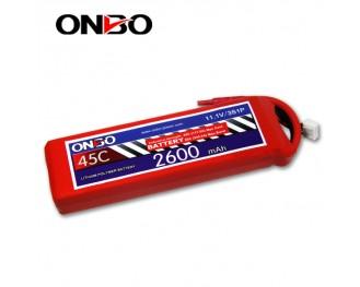 45C 3S 2600mAh lipo,2600mah lipo,ONBO 3S 45C lipo,3.7V lipo battery