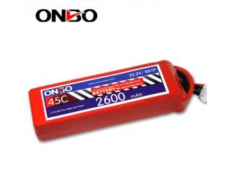 45C 6S 2600mAh lipo,2600mah lipo,ONBO 6S 45C lipo,3.7V lipo battery