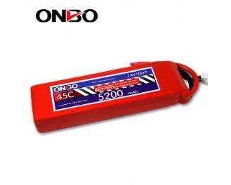 45C 2S 5200mAh lipo,5200mah lipo,ONBO 2S 45C lipo,3.7V lipo battery