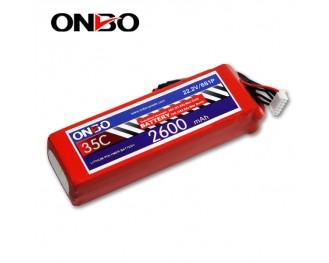35C 6S 2600mAh lipo,2600mah lipo,ONBO 6S 35C lipo,3.7V lipo battery