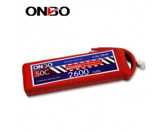 50C 2S 2600mAh lipo,2600mah lipo,ONBO 2S 50C lipo,3.7V lipo battery