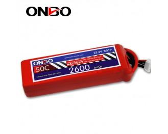 50C 6S 2600mAh lipo,2600mah lipo,ONBO 6S 50C lipo,3.7V lipo battery