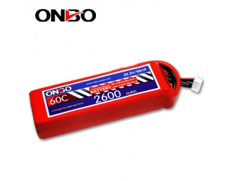 60C 6S 2600mAh lipo,2600mah lipo,ONBO 6S 60C lipo,3.7V lipo battery