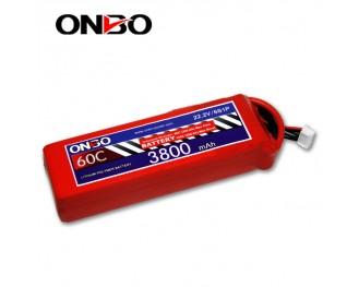 60C 6S 3800mAh lipo,3800mah lipo,ONBO 6S 60C lipo,3.7V lipo battery