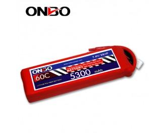 60C 2S 5300mAh lipo,5300mah lipo,ONBO 2S 60C lipo,3.7V lipo battery