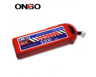 60C 4S 5300mAh lipo,5300mah lipo,ONBO 4S 60C lipo,3.7V lipo battery