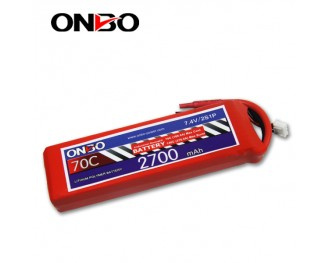 70C 2S 2700mAh lipo,2700mah small lipo,ONBO 2S 70C lipo,7.4V lipo battery