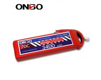 70C 3S 3400mAh lipo,3400mah small lipo,ONBO 3S 70C lipo,11.1V lipo battery