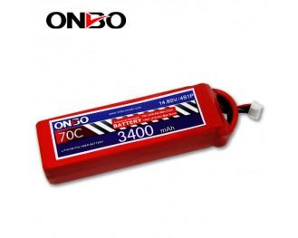 70C 4S 3400mAh lipo,3400mah small lipo,ONBO 4S 70C lipo,14.8V lipo battery