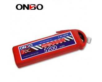 70C 2S 5200mAh lipo,5200mah small lipo,ONBO 2S 70C lipo,7.4V lipo battery