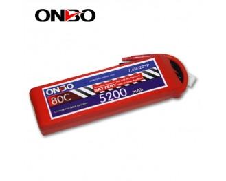 80C 2S 5200mAh lipo,5200mah small lipo,ONBO 2S 80C lipo,7.4V lipo battery