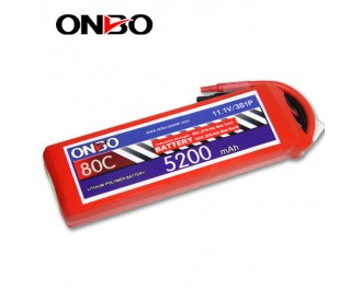 80C 3S 5200mAh lipo,5200mah small lipo,ONBO 3S 80C lipo,11.1V lipo battery