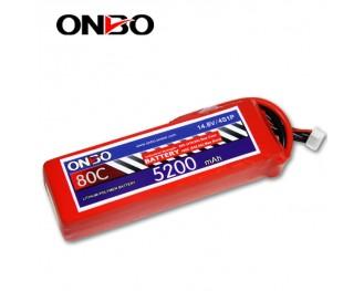 80C 4S 5200mAh lipo,5200mah small lipo,ONBO 4S 80C lipo,14.8V lipo battery