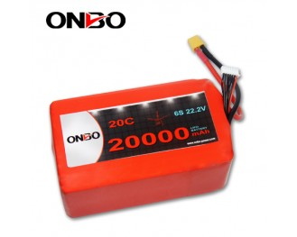 DJI S1000 Lipo Battery Pack,ONBO 20000mAh 6S1P Lipo Battery Pack,20000mAh Lipo Packs for DJI Spreading Wings S1000,20C 20000mAh DJI S1000 Lipo Battery Pack