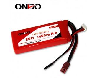 25C 1450mAh 2S LiFePO4 battery, Onbo 1450mAh 6.6V LiFe, Onbo 25C LiFePO4 battery, 6.6V 1450mAh LiFe, 25C 1450mAh RX LiFe battery