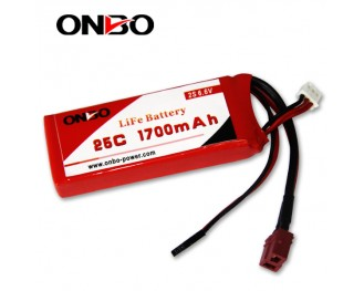 25C 1700mAh 2S LiFePO4 battery, Onbo 1700mAh 6.6V LiFe, Onbo 25C LiFePO4 battery, 6.6V 1700mAh LiFe, 25C 1700mAh RX LiFe battery